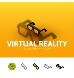 Virtual reality icon in different style vector
