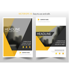 yellow triangle annual report leaflet brochure vector image vector image