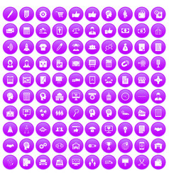 100 business strategy icons set purple vector