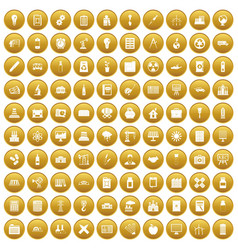 100 company icons set gold vector