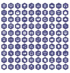 100 internet icons hexagon purple vector image vector image