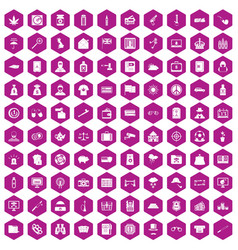 100 police icons hexagon violet vector