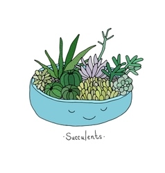 Cartoon cute succulents in pot vector