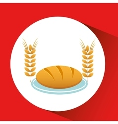 Coffee and bread icon vector