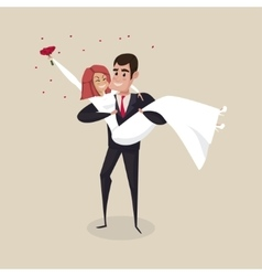 The groom carries the bride with wedding bouquet vector