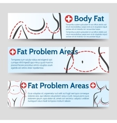 Female body fat problems areas banners vector