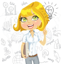 Girl inspiration idea on business background vector