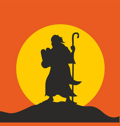 silhouette of moses vector image