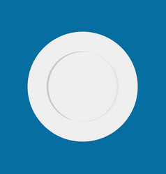 Plate empty isolated blank white dish cookware vector