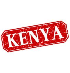 Kenya red square grunge retro style sign vector