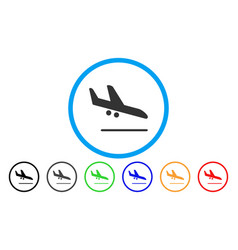aiplane landing rounded icon vector image