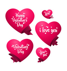 A set of pink hearts templates vector
