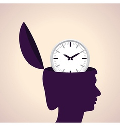 Thinking concept-Human head with clock icon vector image
