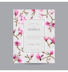 Vintage floral magnolia frame vector