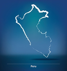 Doodle map of peru vector