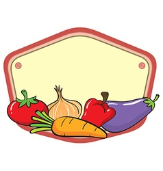 Many vegetables on empty sign vector