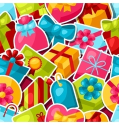 Seamless celebration pattern with colorful sticker vector