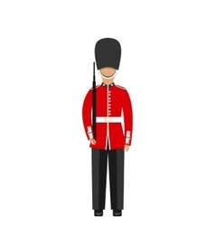 Queens guard man in traditional uniform with vector