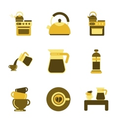 assembly flat icons coffee cup Coffee Maker vector image