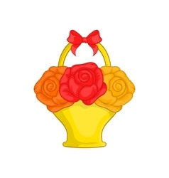 Flowers in basket icon cartoon style vector
