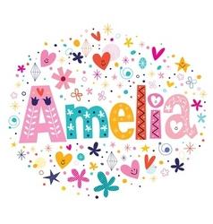 Amelia female name decorative lettering type vector