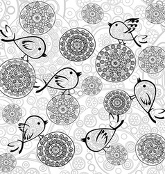 Background with flowers and birds vector image vector image