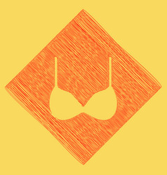 Bra simple sign red scribble icon vector