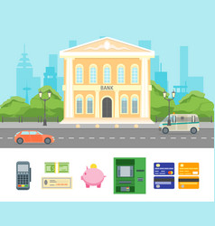Cartoon building bank on a city landscape vector