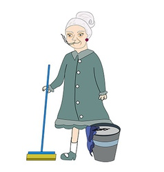 cartoon character housemaid with broom isol vector image