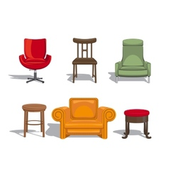 Chairs armchairs stools icons vector image vector image
