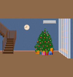 christmas interior of living room with christmas vector image