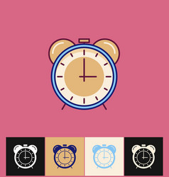 Clock icon flat blue simple vector