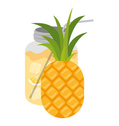 Color silhouette of pineapple fruit and bottle vector