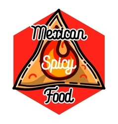 Color vintage mexican food emblem vector