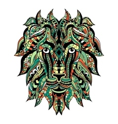 Colored ornamental tattoo lion head vector
