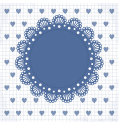 cute frame with hearts and lacy napkin vector image vector image