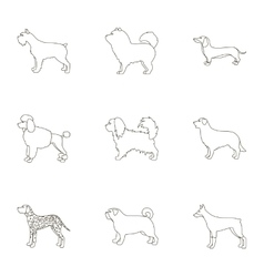 Dog breeds set icons in outline style big vector