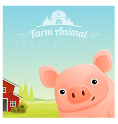 farm animal and rural landscape with pig vector image