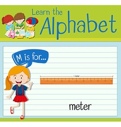 Flashcard letter m is for meter vector