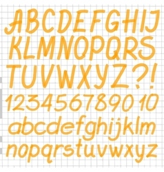 Handwritten highlighter alphabet vector