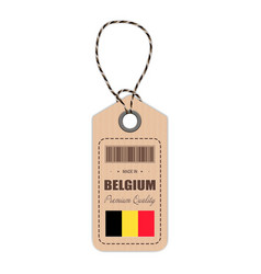 hang tag made in belgium with flag icon isolated vector image vector image