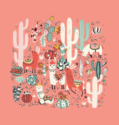 Lama in cactus jungles card vector