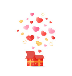 open festive box from which the hearts fly out vector image