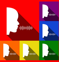 people speaking or singing sign set of vector image vector image