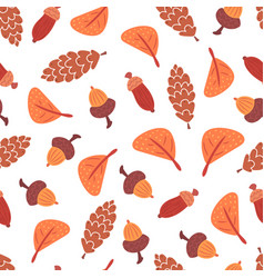 seamless autumn leaves cones and acorns pattern vector image vector image