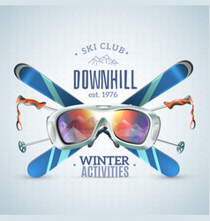 ski club poster vector image vector image