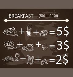 Template breakfast chalkboard menu vintage vector
