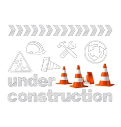 Under construction concept sketched drawing with vector image vector image