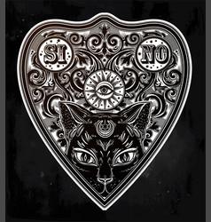 Vintage magic ouija board oracle with black cat vector