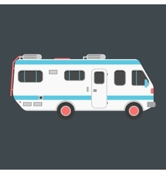 White travel camper van isolated on dark vector